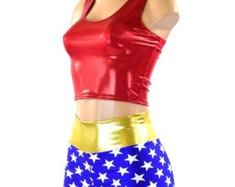2PC Red Metallic Tank Top, Blue & White Star Print High Waist  Booty Shorts w/ Gold Metallic Waistband Super Hero Costume 151294
