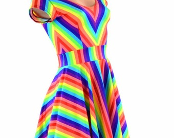 Rainbow Stripe Darted Cap Sleeve Fit and Flare Skater Dress 151388