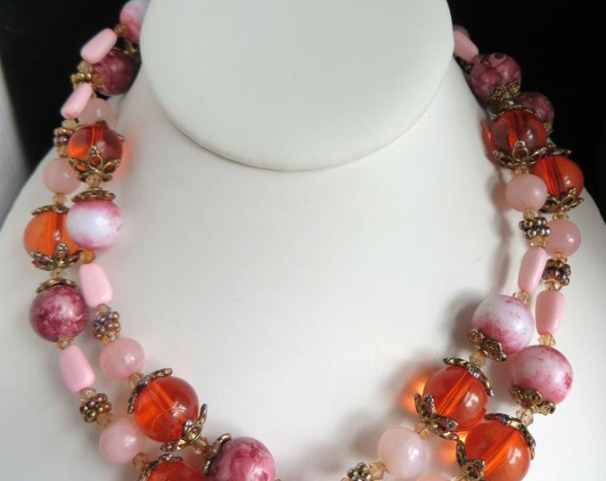 Pink Lucite Necklace, Confetti Necklace, Vintage Long Beaded Necklace, Pink and Coral Necklace, Long Necklace, Free Shipping
