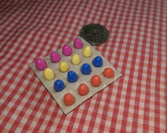 Fresh colored chicken eggs on a pallet Dollhouse Miniature ooak one inch scale