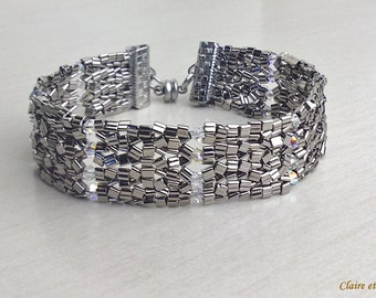 Metallic grey and crystal  beaded bracelet. Herringbone stich.