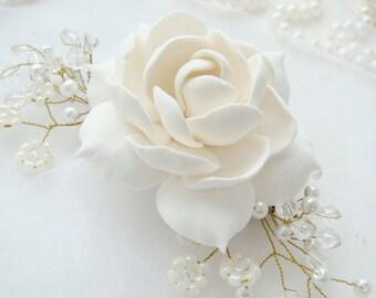Gardenia Bridal flower comb Bridal hair comb Wedding hair comb Bridal Hair flower Bridal hair accessories Wedding hair accessories