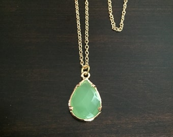 green necklace, light green necklace, green jewelry, green gem, green stone, gem necklace, stone necklace, gold necklace, necklace