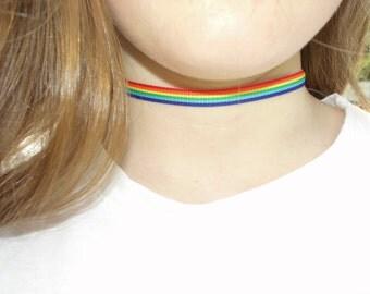 Rainbow Stripe Choker