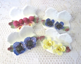 Boxed Set of 4 Place Card Holders, Aynsley China, Hand Modelled, Hand Painted