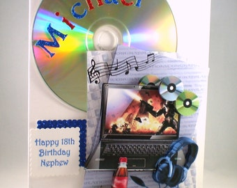 3D 18th Birthday Card, music,laptop,headphones,cd's. 21st,personalise