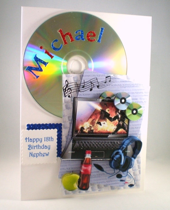 3D 18th Birthday Card Musiclaptopheadphonescd's