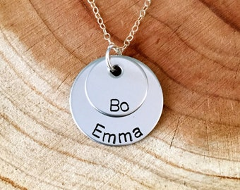 Personalized Two Names Necklace, Two Children Necklace