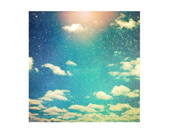 Aqua Blue Art, Teal Art, Retro Sky Art, Cloud Wall Art, Sunshine Photography, Square Art Prints, 8x8 Art, 10x10 Art, 12x12 Art