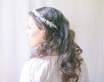 Baby's breath flower crown, Rustic wedding hair crown, Flower headpiece, Floral headband - DOVE