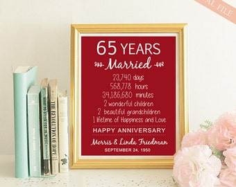65th Anniversary Gift - 65 years Wedding Anniversary - Personalized 60th Wedding Print - Anniversary Print - DIGITAL file!
