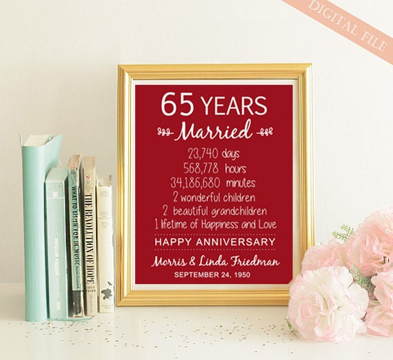 65 Wedding Anniversary Gift: 65th Anniversary Gift 65 Years Wedding Anniversary