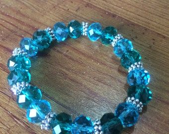 Teal and Green Glass Bead Bracelet