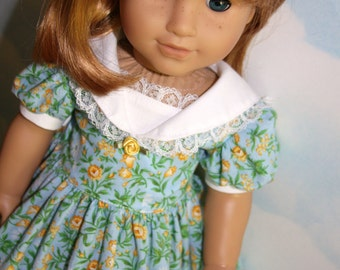 18 Inch Doll (like American Girl)  RESERVED FOR KENDALL Blue and Yellow Floral Dress with Sailor Collar and Lace Trim