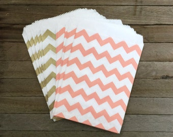 48 Gold and Peach Favor Bags--Chevron Favor Bag--Candy Favor Bag--Chevron Goodie Bags--Chevron Party Sack--Birthday Treat Sacks
