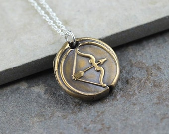 Wax Seal Necklace Bow and Arrow Pendant Bronze Pendant Sporting Jewelry Sterling Silver Chain Mixed Metal