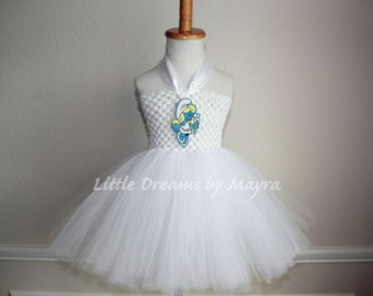 Smurfette inspired tutu dress - Smurfette costume inspired size nb to 12years
