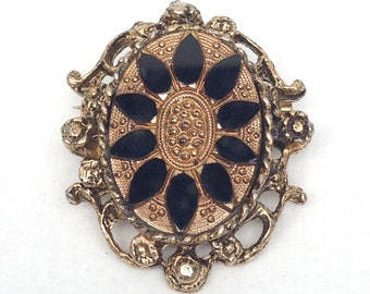 Gold Victorian Revival Brooch with Black Enamel Detail