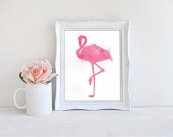 Flamingo Art - Flamingo Print - Flamingo Decor - Pink Decor - Watercolor Art - Watercolor Prints - Tropical Print - Tropical Decor