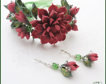 Jewelry Set Bracelet and Earrings Handmade Polymer Clay Jewelry, Summer Romantic Floral Corsage Dangle Earrings Prom Corsage, Ready to ship.