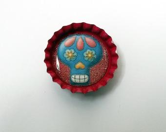 Cute Cerise Bottlecap Magnet with a Sugar Skull Design
