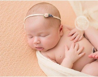 Simple Newborn Tieback | Newborn Photo Prop Girl | Baby Girl Headband | Organic Newborn Floral Headband