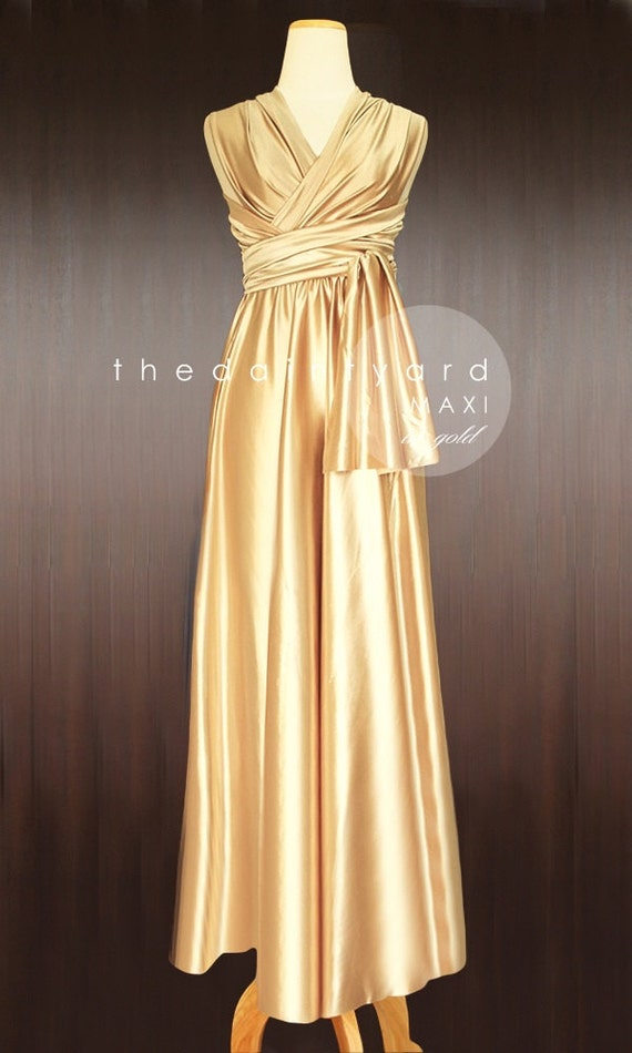 Maxi Gold Bridesmaid Dress Convertible Dress Infinity Dress