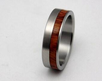 Wood and Titanium wedding band  Ironwood inlay