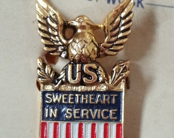 NOS WWII Sweetheart in Service Sterling Pin by Coro on Card - New Old Stock