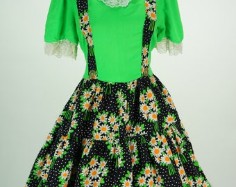 Vintage 1960s Lime Green and Black Floral Swing Dress Size M