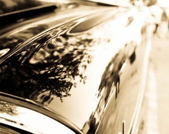 Classic Car Photograph Sepia Headlight