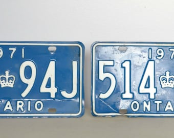 1971 Ontario, Canada licence plate set
