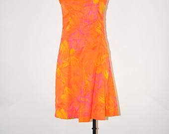 60s orange floral dress / bright fire orange dress / chiffon A line dress / sleeveless shift dress