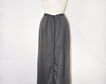 dark gray flax maxi skirt / striped long linen skirt / vintage snap front skirt