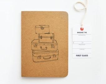 Kraft Travel Journal, Travel Notebook with Vintage Suitcase Illustration