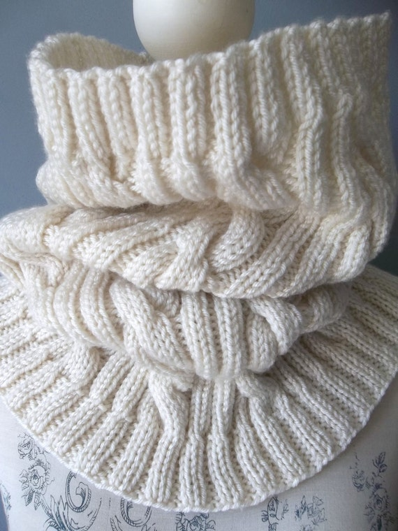 Aran Knitting Pattern With Hood : Aran Cable Cowl. PDF Knitting Pattern.