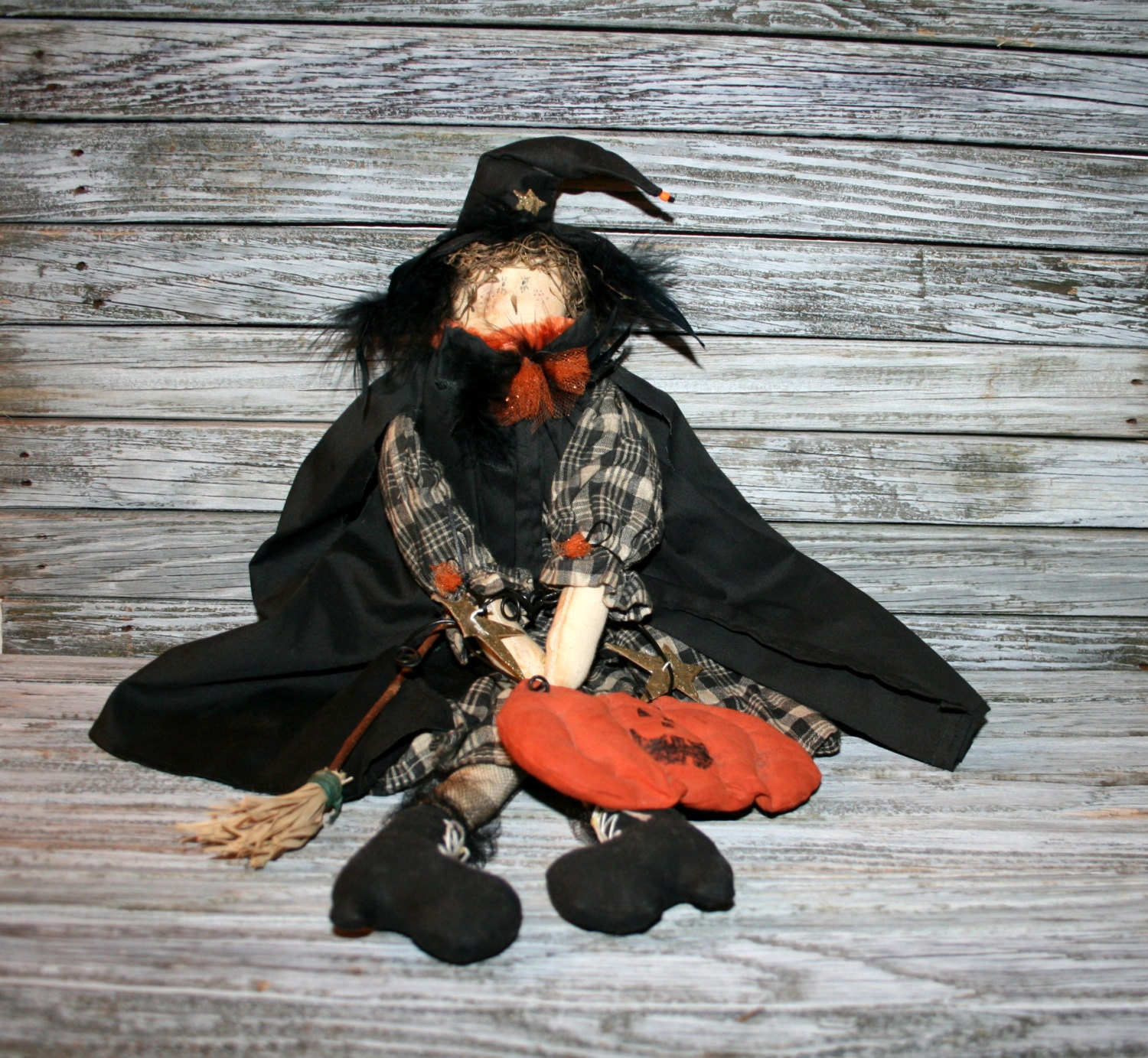 Primitive Halloween Decor Cute Witch Doll Home by - Cute Witch Decorations