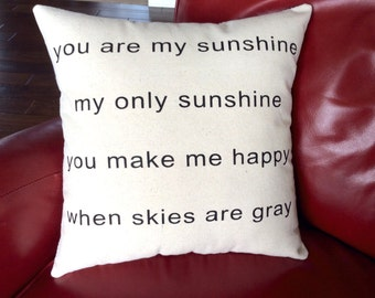 Canvas Pillow, You are My Sunshine, Baby Gift, Nursery Decor, Screenprinted Pillow, Home Decor, Decorative Pillow, Printed Pillow, Pillows