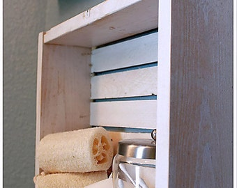 White Bathroom Shelves   Nautical Bathroom Decor   Nautical Shelf   Beach  Decor   Beach Crate Part 91