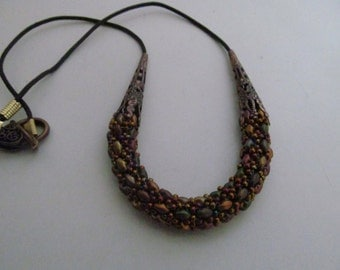 Beaded rope necklace, metallic rope necklace, multi color rope necklace,  super duo necklace, leather necklace