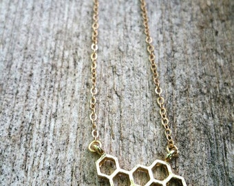 Sweet as Honey Gold Honey Comb Necklace