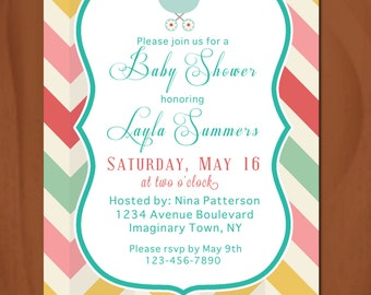 Baby Shower Invitation ~ Printable ~ Colourful ~ Baby Carriage ~ Chevrons
