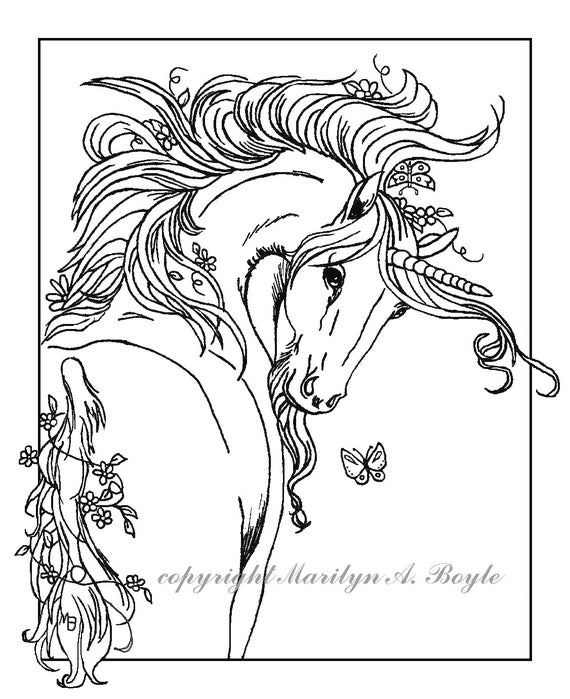 ADULT COLORING PAGE Unicorn digital downloadfantasy adult