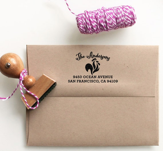 Rooster return address stamp for customized for weddings housewarming parties and as a custom - Return gifts for housewarming party ...