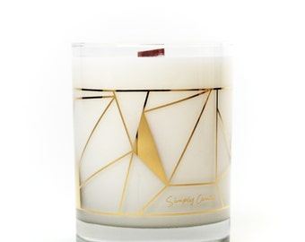 Scented 100% Soy Candle - 22k Gold Glass - Oakmoss + Leather