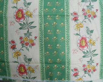 """Vintage 90s Cotton Screenprint Floral Upholstery Fabric 4 yards x56"""""""