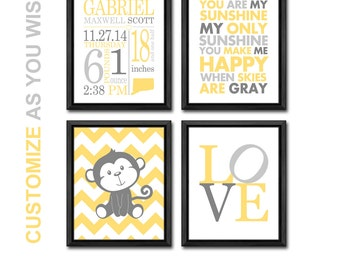 monkey baby room decor, jungle nursery decor with stats, personalized baby prints, birth announcement wall art, baby nursery decor monkey