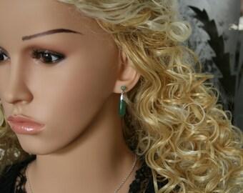 Handmade 'Classic Elegance' Aventurine and sterling silver earrings. Fish hook ear wires for pierced ears