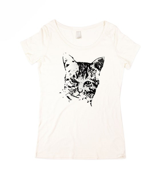 Cat Shirt - Womens Wild Cat T-shirt - Natural White Cat Shirt - In Small, Medium, Large, XL