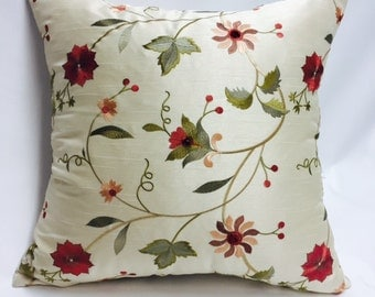 Embroidered White, Red, Green Pillow Cover with a Traveling Vine Motif